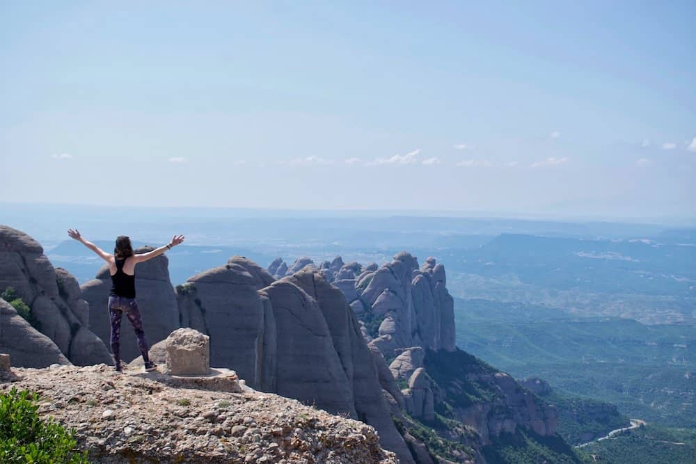 Sarah at summit of Montserrat Barcelona Hike