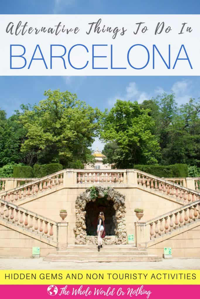 Sarah in Parc del Laberint d'Horta with text overlay Alternative Things to Do in Barcelona