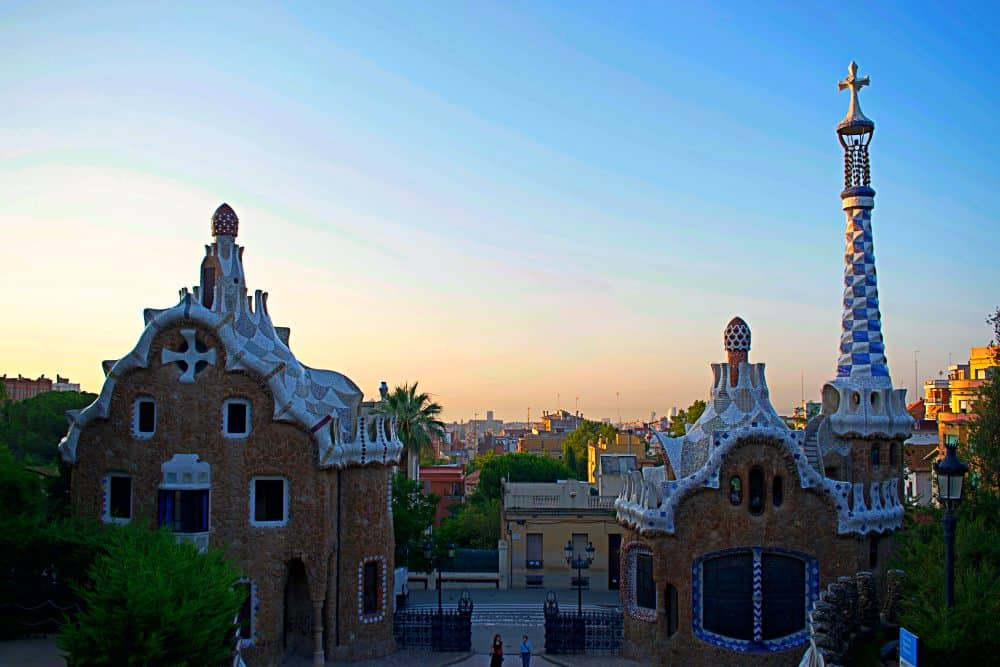 Barcelona from above Park Guell gingerbread houses