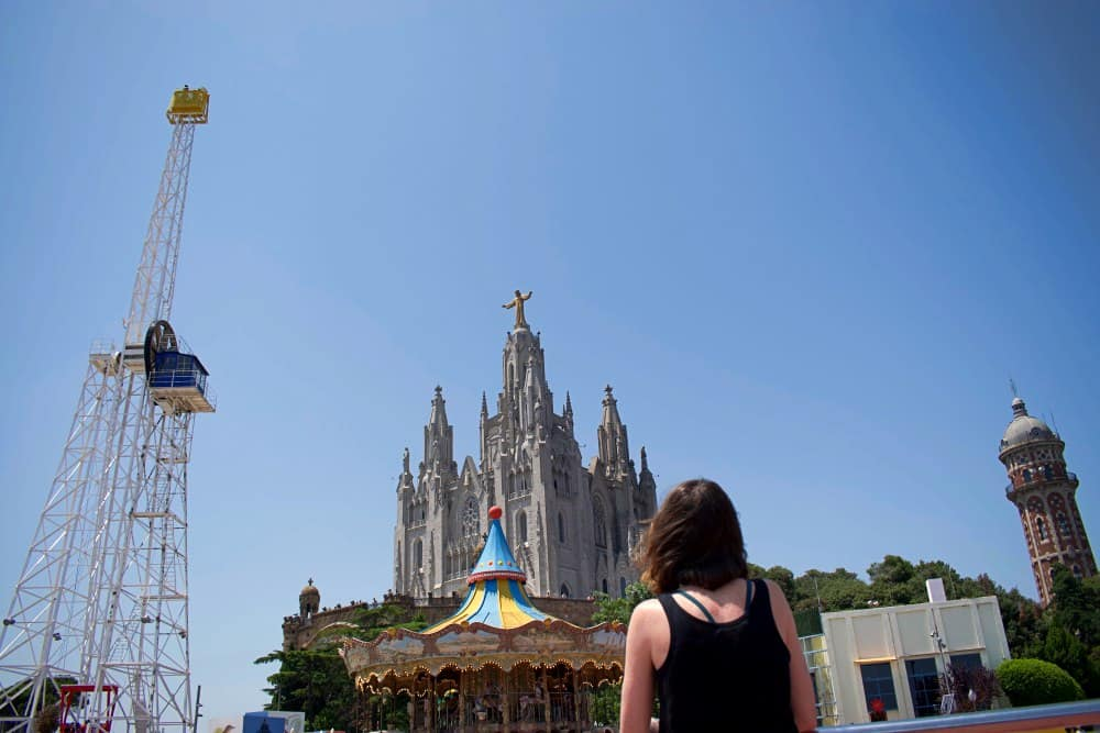Barcelona from above Tibidabo carousel and church