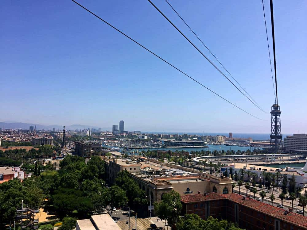Barcelona from above on Port Cable Car