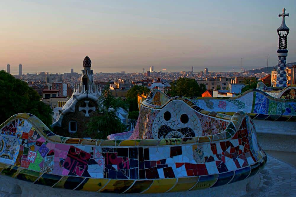 Barcelona from above park guell balcony