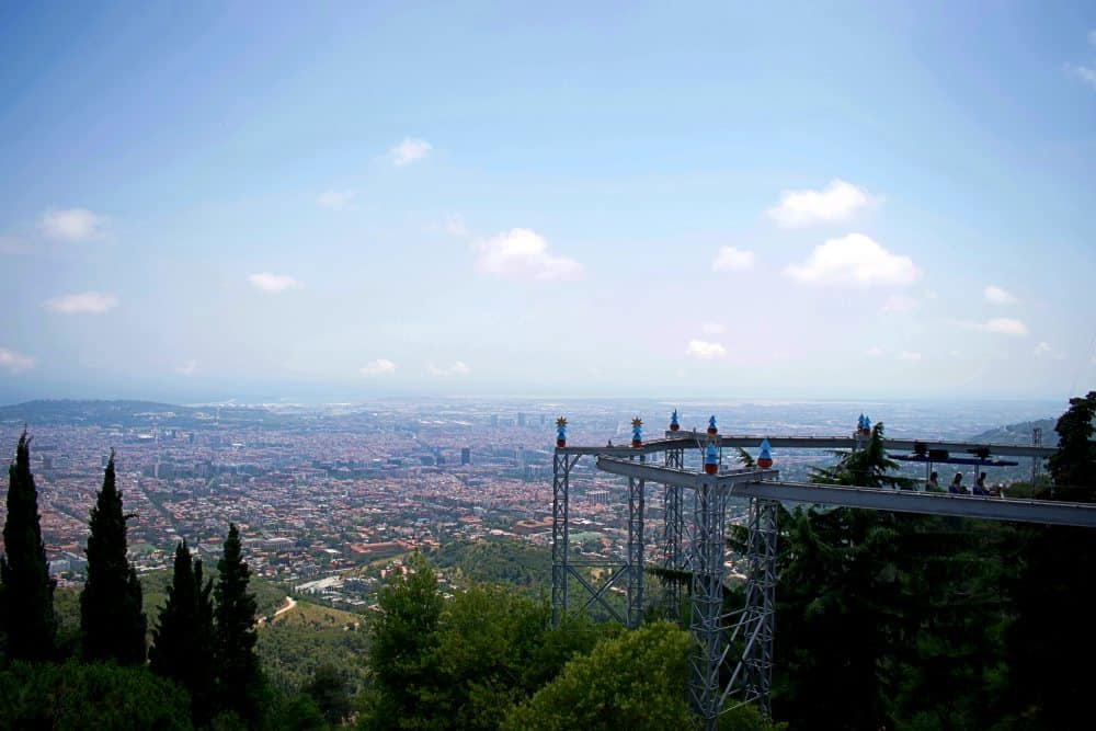 Barcelona from above with Tibidabo rollercoaster