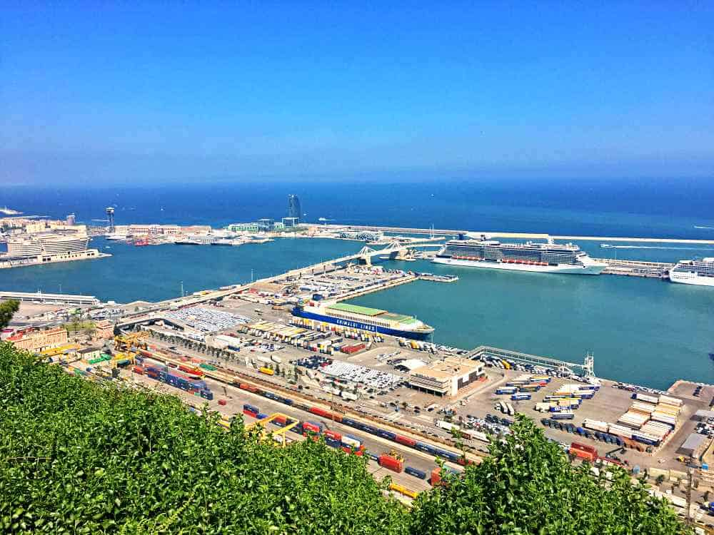 Port in Barcelona from above