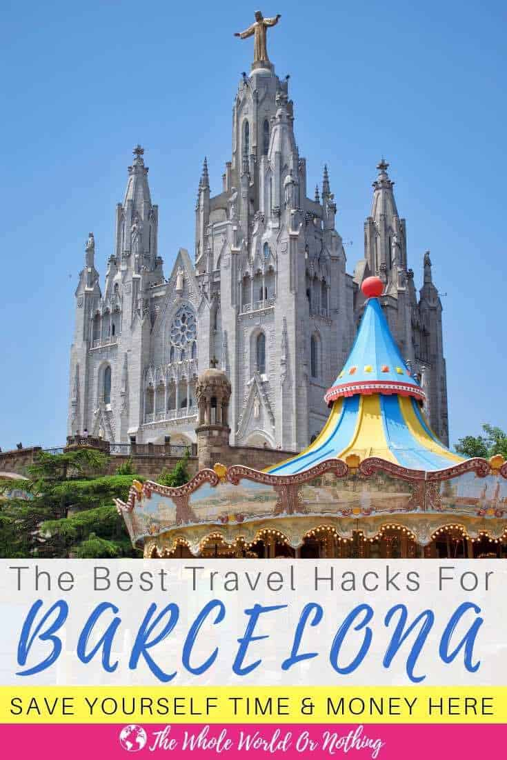 Mount Tibidabo with text overlay The Best Travel Hacks For Barcelona