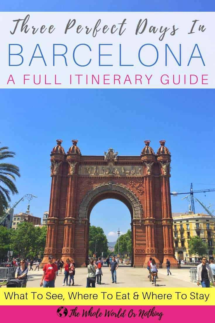 Arc de Triomf with text overlay Three Perfect Days In Barcelona