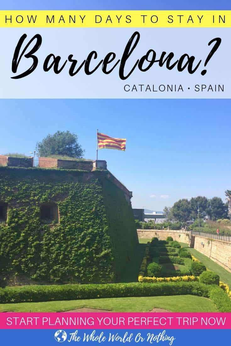 Montjuic castle with text overlay How Many Days To Stay In Barcelona