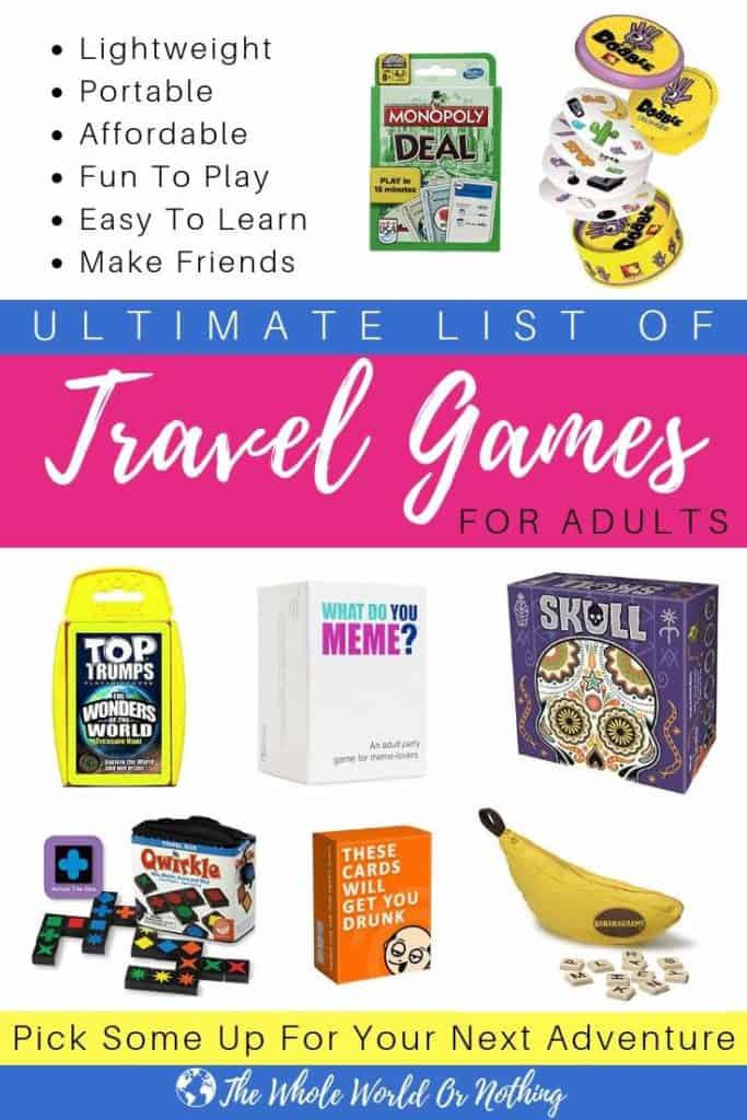 Ultimate List of Travel Games For Adults Pin