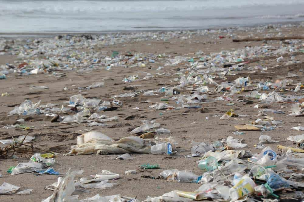 plastic water bottles polluting beach