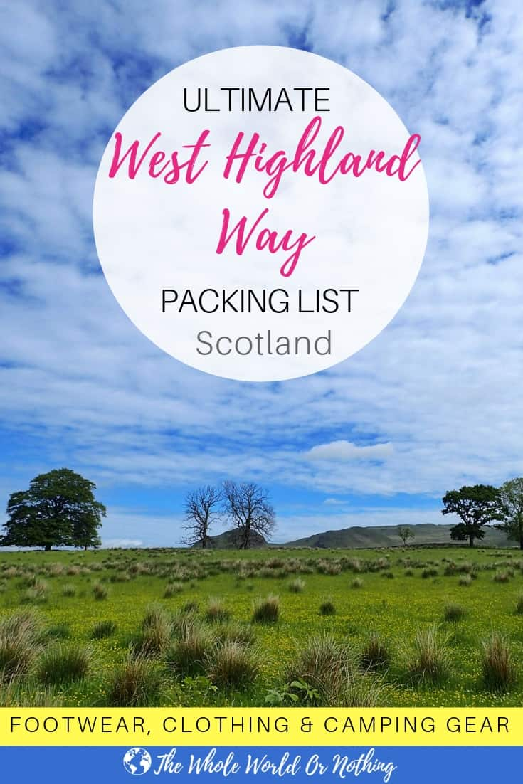 West Highland Way packing list