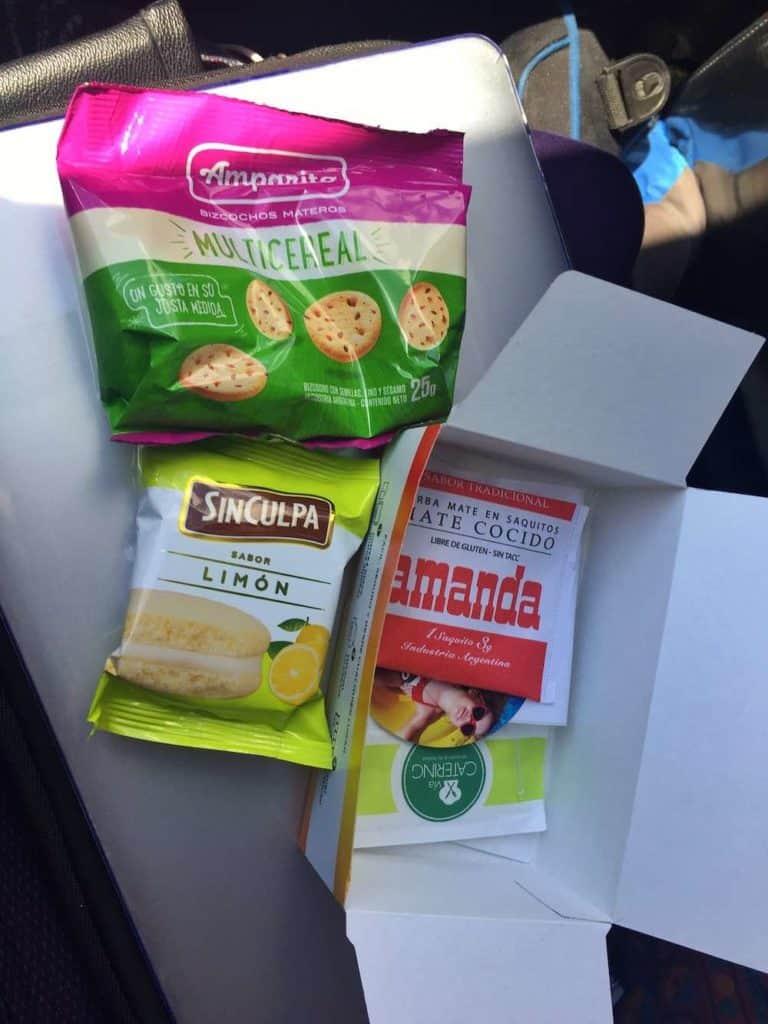 Breakfast on El Valle bus Argentina