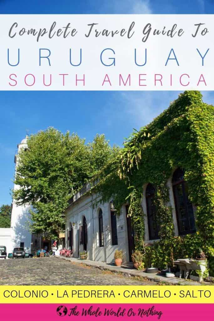 Colonia cobbled street with text overlay Complete Travel Guide To Uruguay South America