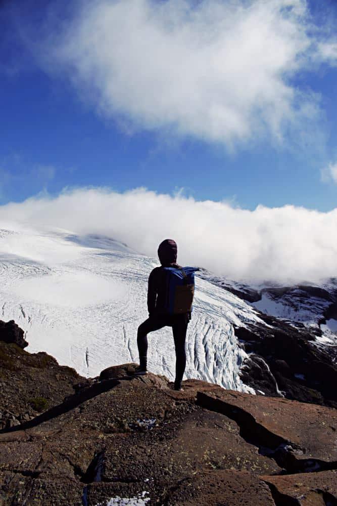 Sarah looking over Alerce Glacier
