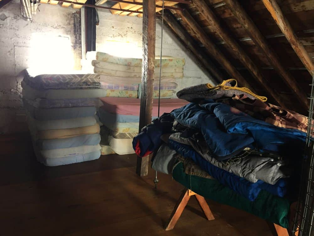 Spare mattresses and sleepng bags at Refugio Otto Meiling