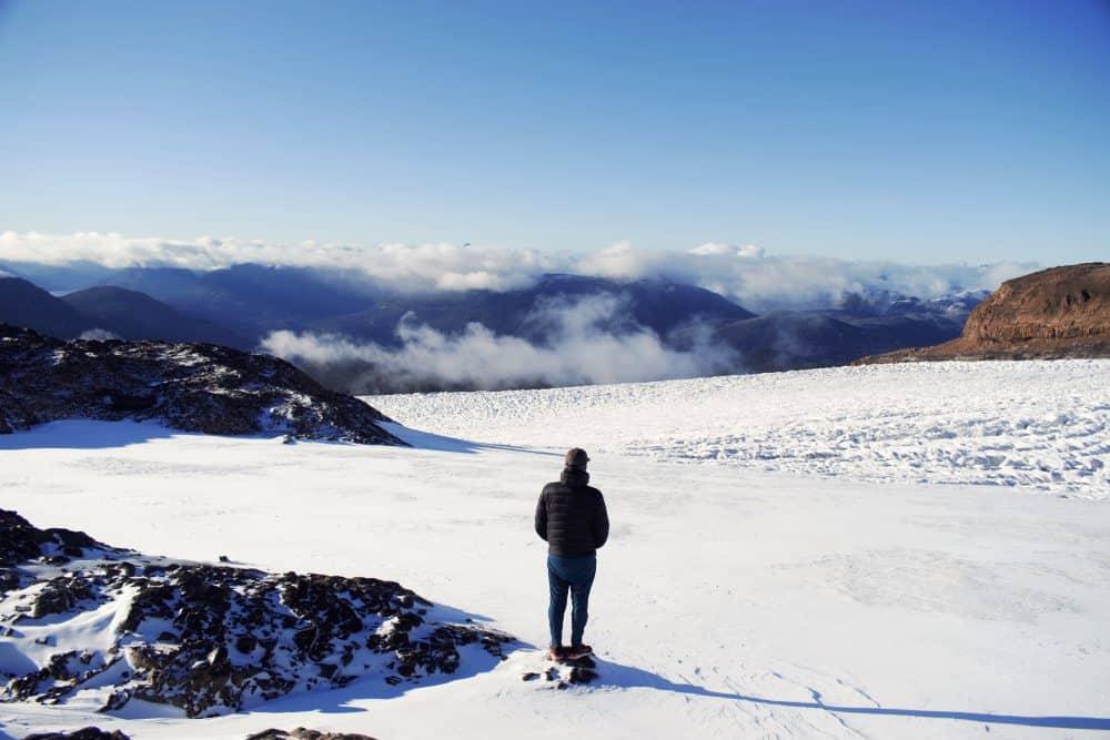 Standing on Castaño Overa Glacier