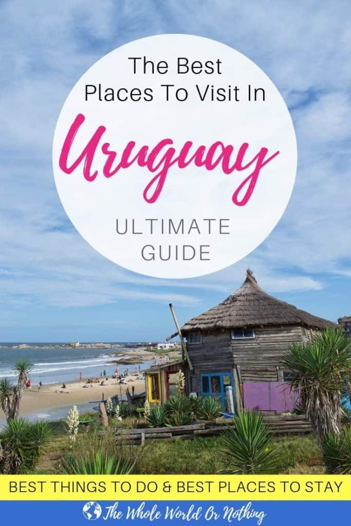 Punta del Diablo beach with text overlay The Best Places To Visit In Uruguay - Ultimate Guide