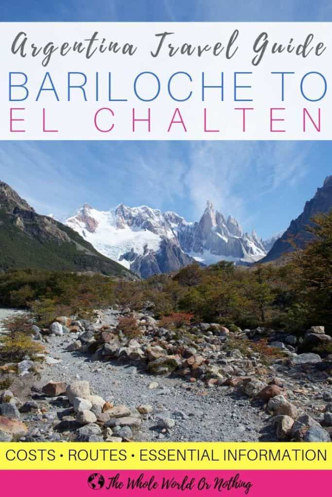 Patagonia landscape with text overlay Argentina travel guide Bariloche to El Chalten