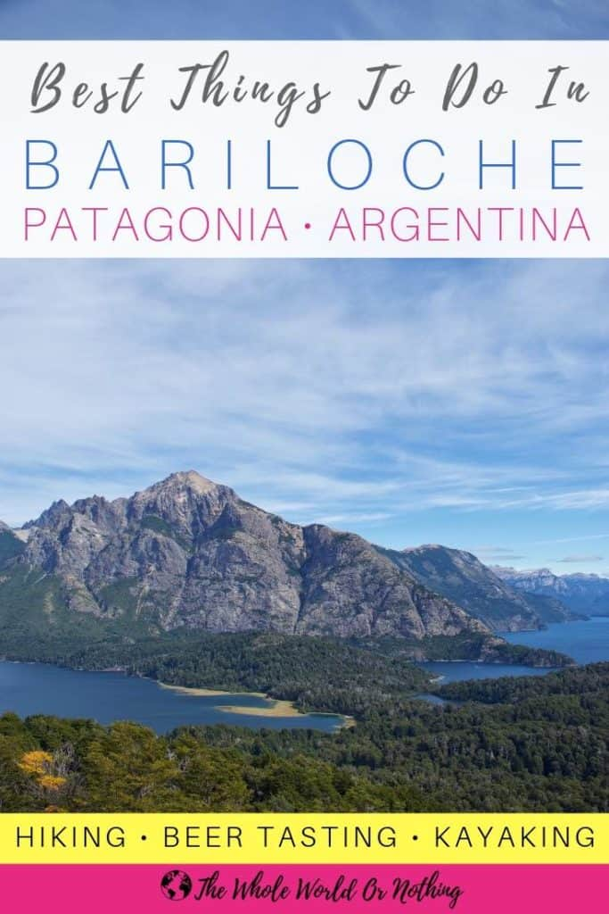 View from Cerro Llao Llao with text overlay Best Things To Do In Bariloche Argentina