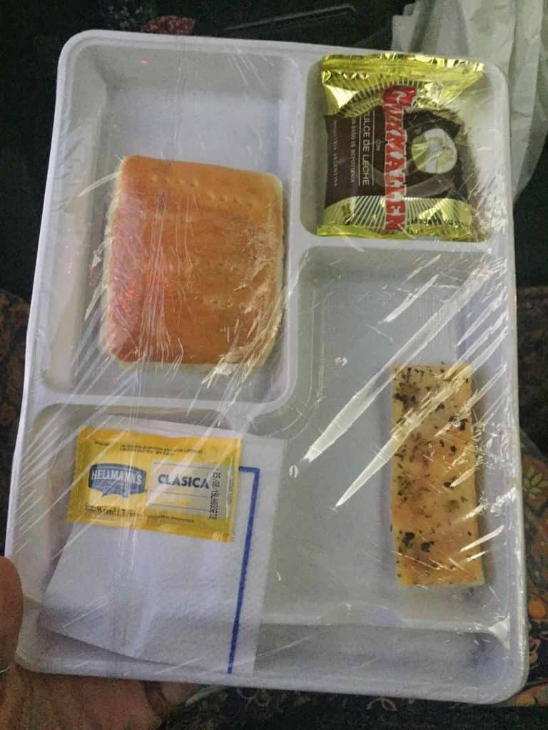 Food on bus from Bariloche to El Calafate