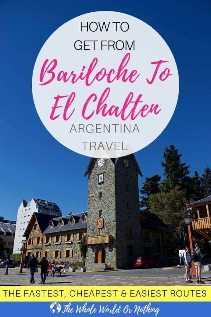 Bariloche town square with text overlay how to get from Bariloche to El Chalten