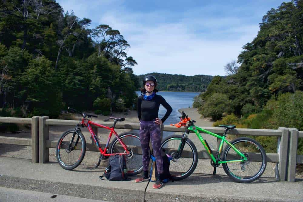 Sarah with bikes on Circuito Chico Bariloche