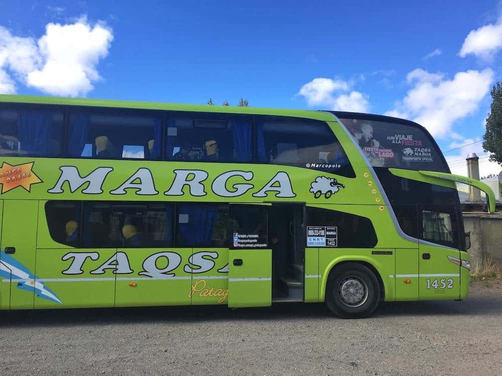 Marga bus from Bariloche to El Chalten
