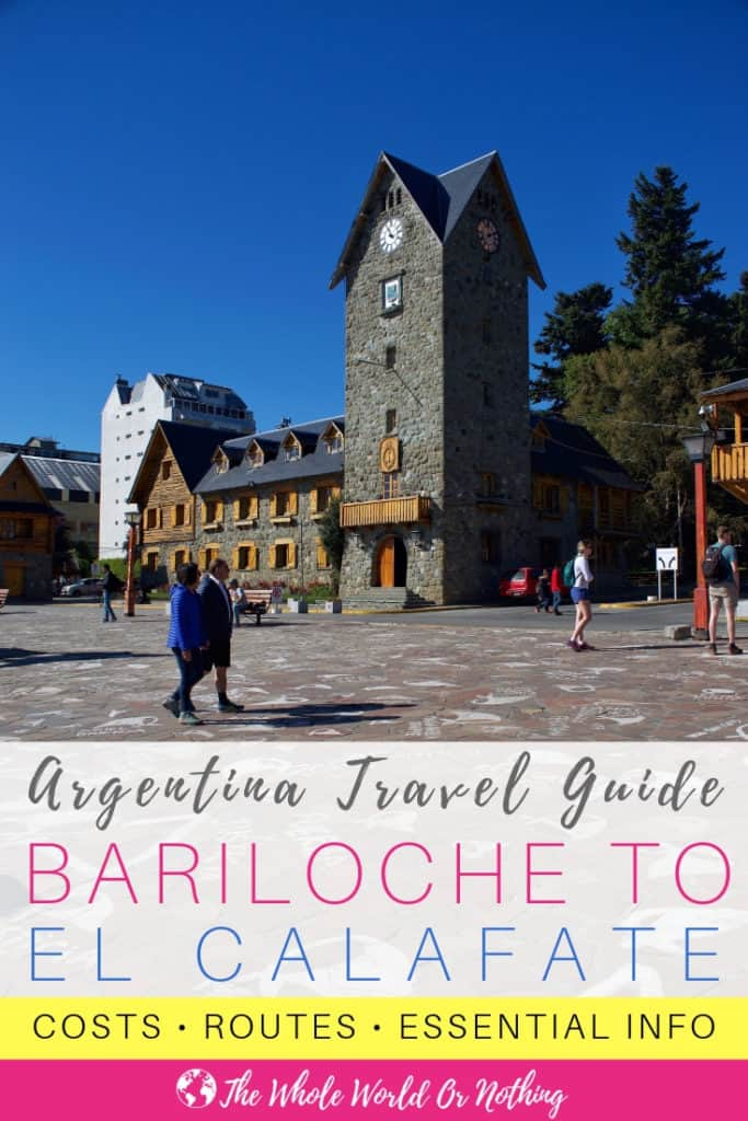 Town square with text overlay Argentina Travel Guide Bariloche To El Calafate