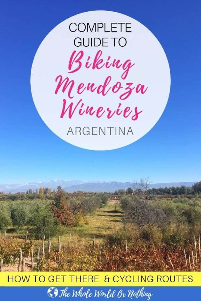 Vineyard with text overlay complete guide to biking Mendoza wineries Argentina