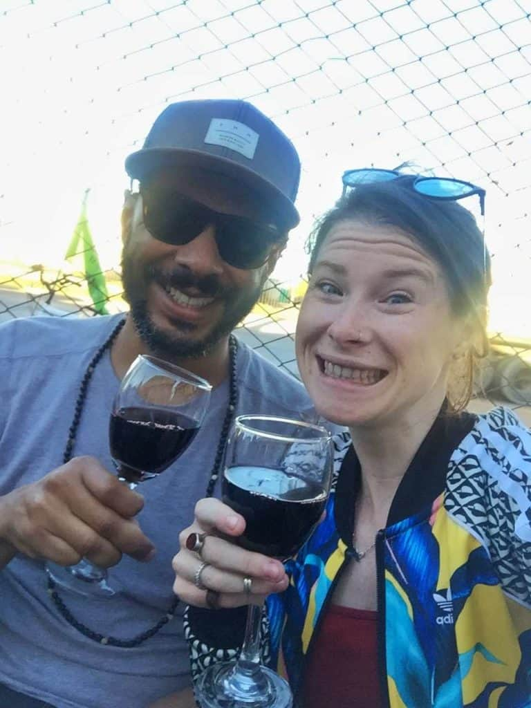 enjoying wine at Mendoza wineries