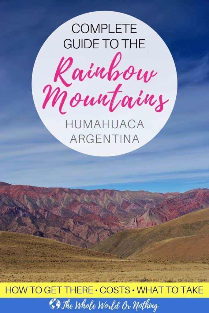 Cerro Hornocal with text overlay Complete Guide To The Rainbow Mountains Humahuaca Argentina