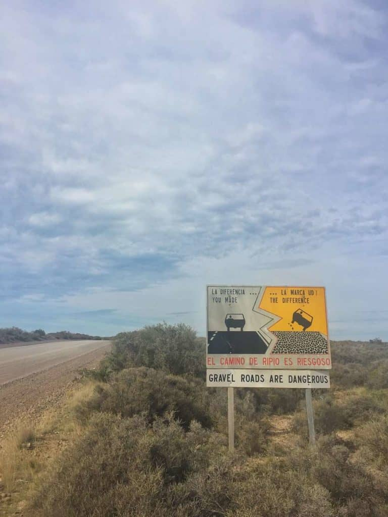Gravel Road Warnings in Punta Tombo