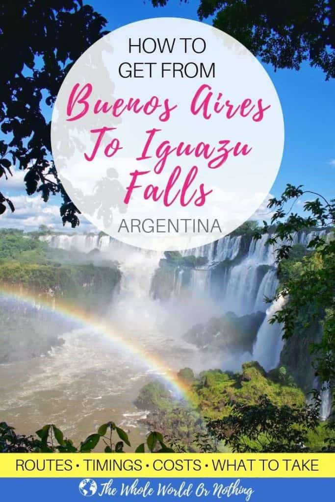 Jungle waterfalls with text overlay How To Get From Buenos Aires To Iguazu Falls Argentina