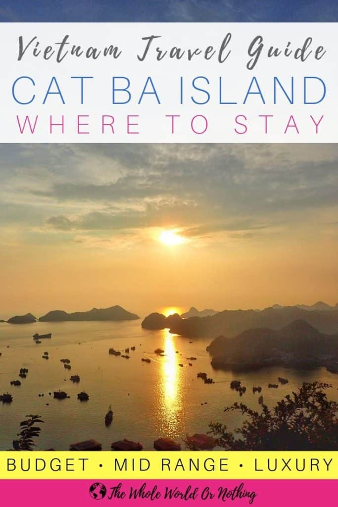 Harbour sunset with text overlay Vietnam Travel Guide Cat Ba Island Where To Stay
