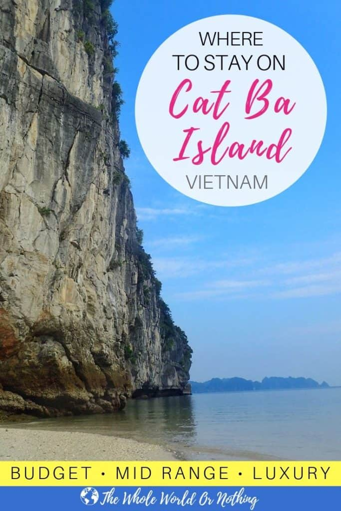 Beach and karst mountain with text overlay Where To Stay On Cat ba Island Vietnam