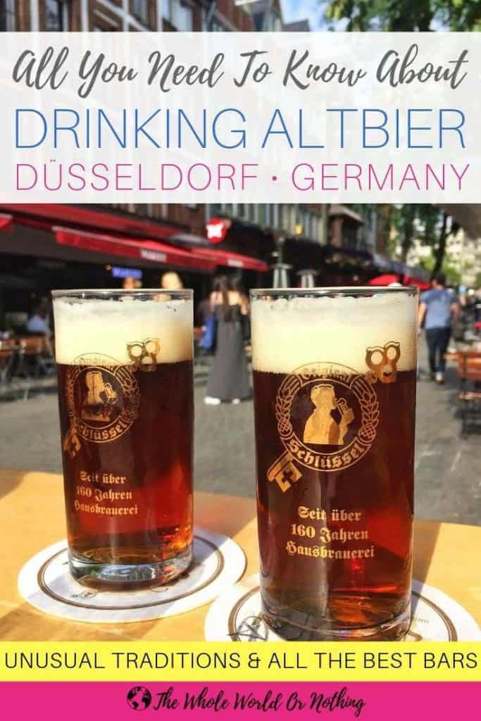Altbier with text overlay All You Need To Know About Drinking Altbier Dusseldorf Germany