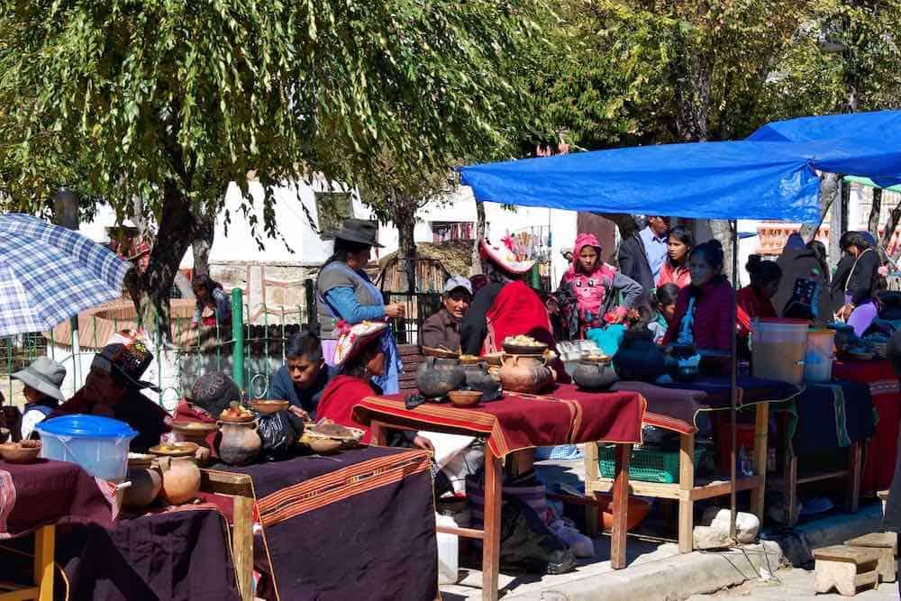 Market scenes Tarabuco Sucre Bolivia