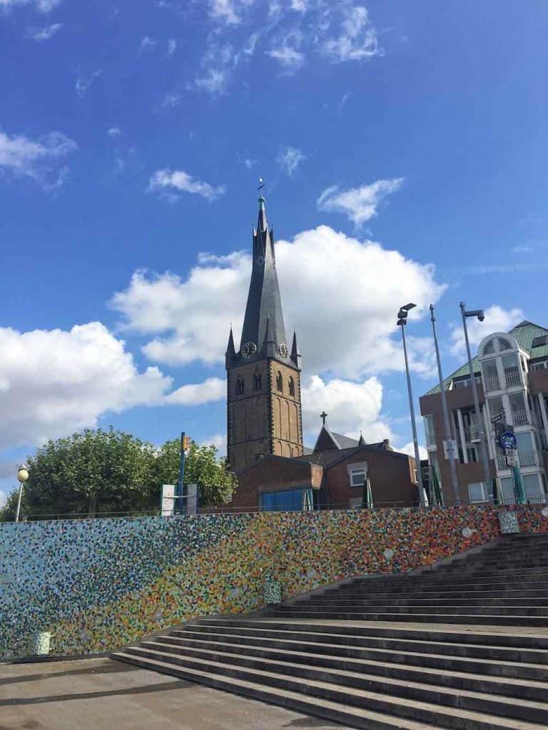 St Lambertus Church twisted spire Dusseldorf