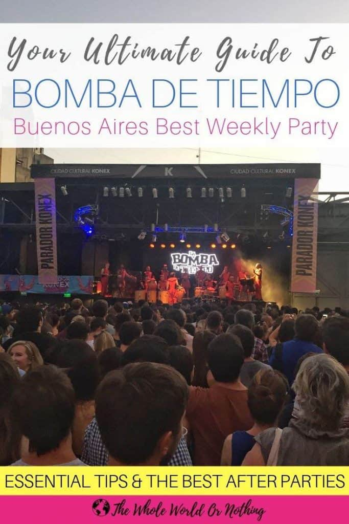 Band and crowd with text overlay Your Ultimate Guide To Bomba de Tiempo Buenos Aires Best Weekly Party