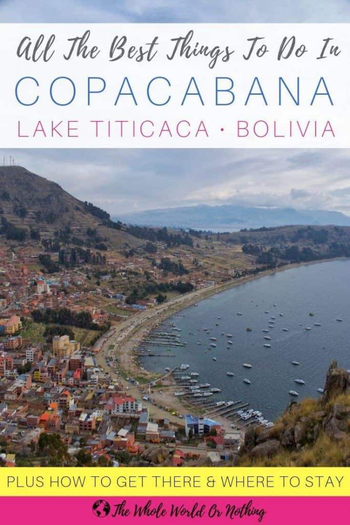 View of Copacabana bay with text overlay 'All The Best Things To Do In Copacabana Lake Titicaca Bolivia'