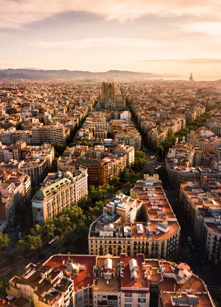 Barcelona from above grid Eixiample