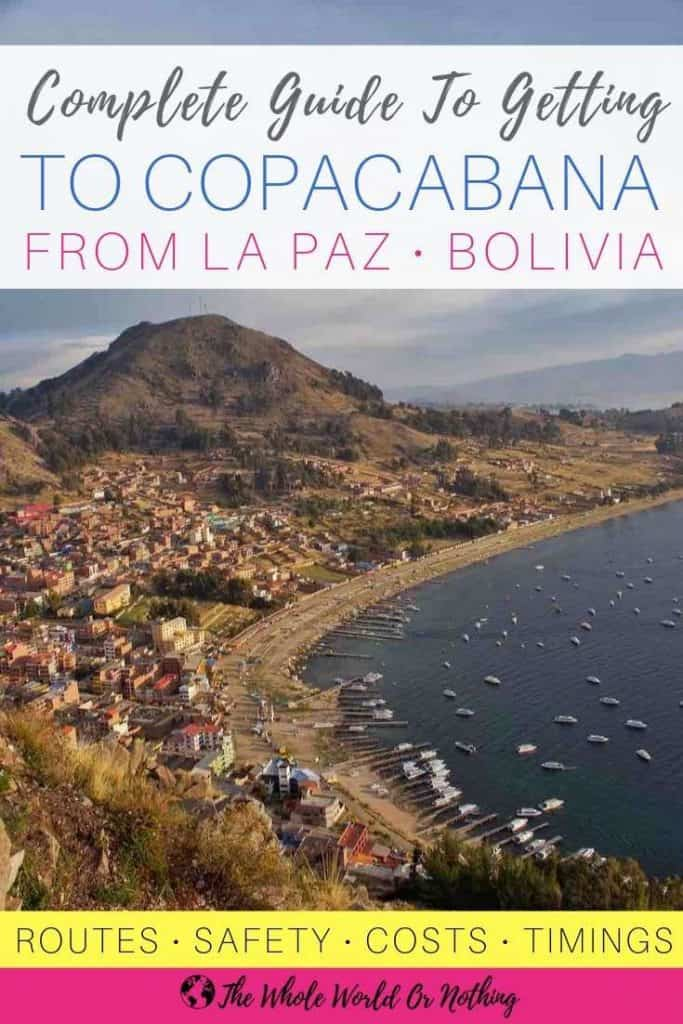 Copacabana Bay with text overlay 'Complete Guide To Getting To Copacabana From La Paz Bolivia'