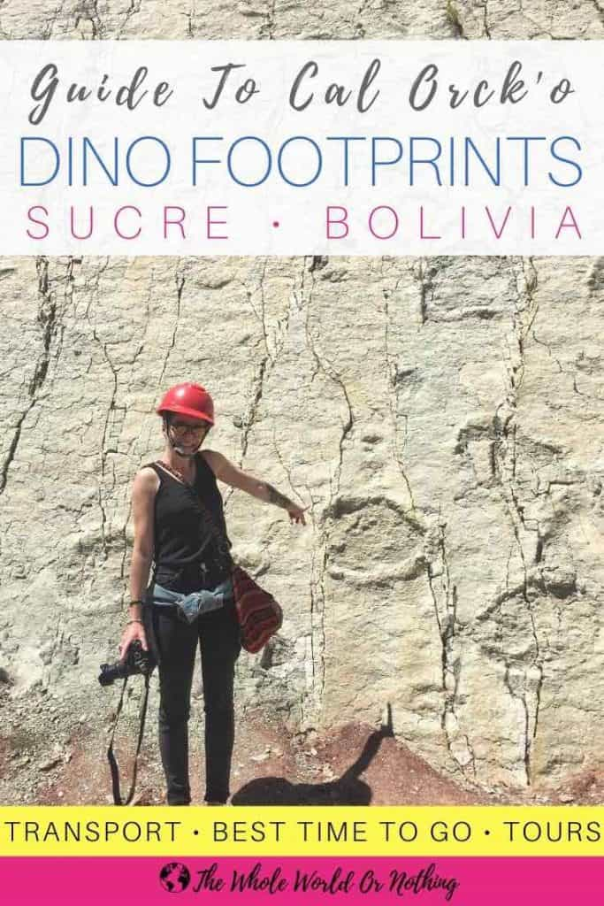 Limestone wall with text overlay guide to Cal Orcko's Dino Footprints Sucre Bolivia