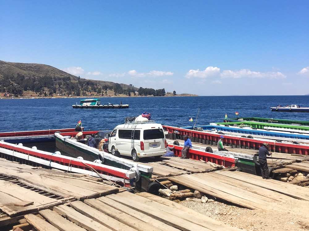 Minibus bus crossing Tiquina Strait