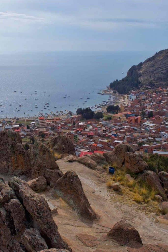 View of Copacabana Bolivia from Horca del Inca