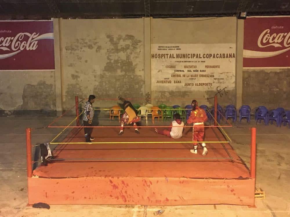 Wrestling in Copacabana Bolivia