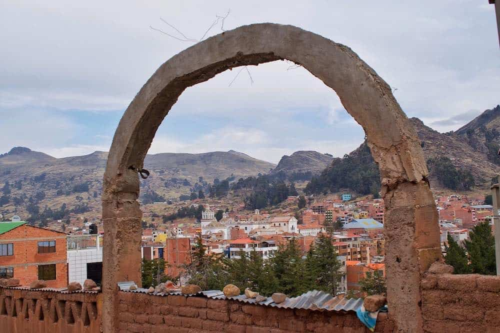 view of Copacabana Bolivia through arch