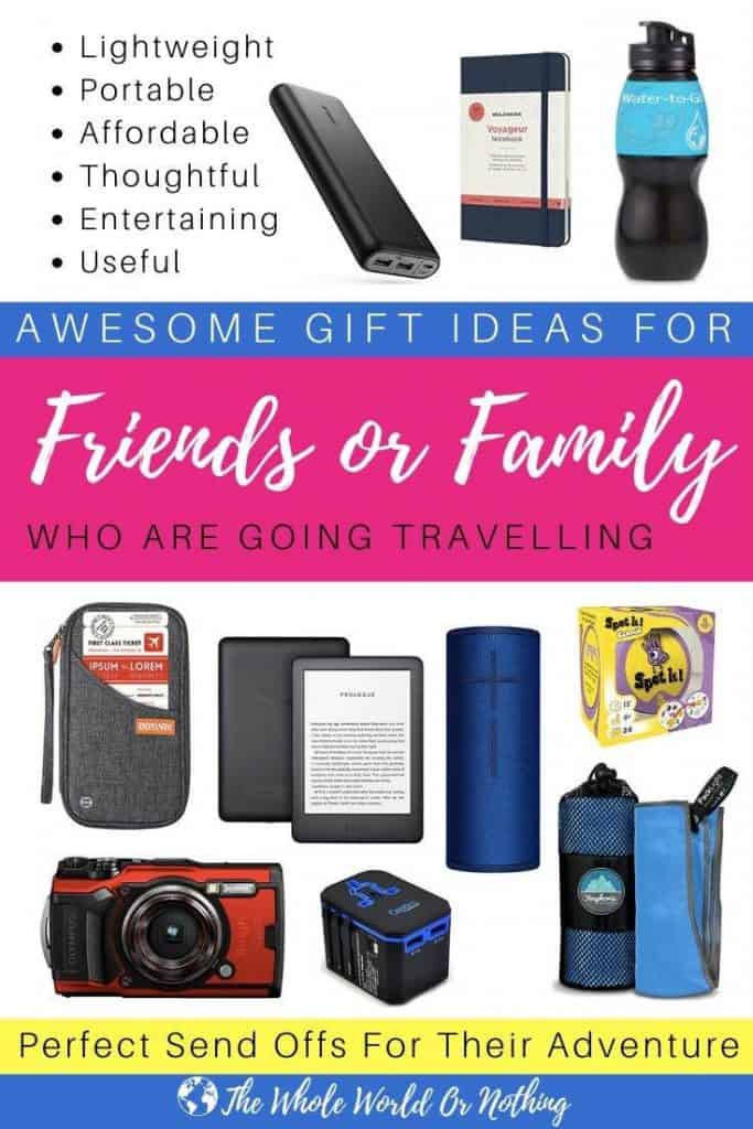 Travel gift images with text overlay awesome gifts for friends or family who are going travelling