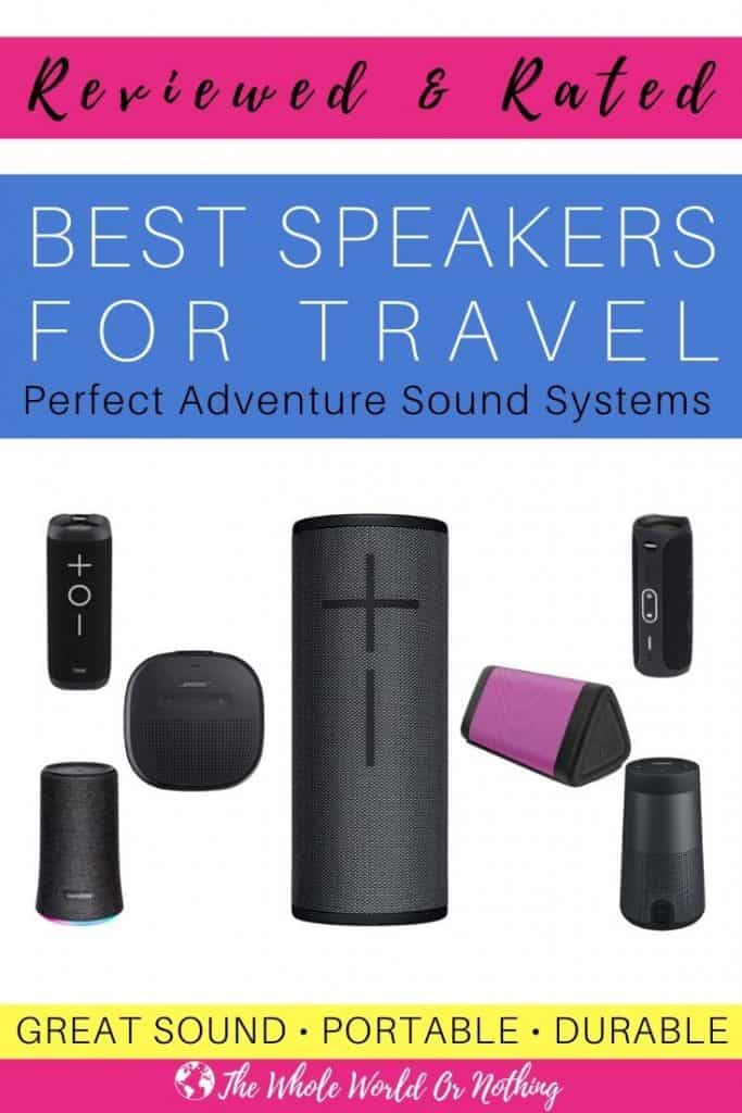 Speakers with text overlay Reviewed & Rated Best Speakers For Travel