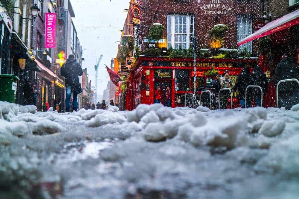 Budget travel Dublin Temple Bar in winter