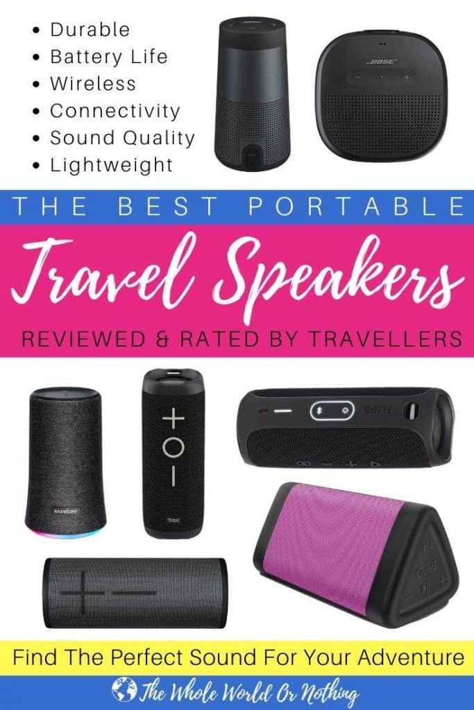 Speakers with text overlay The Best Portable Travel Speakers